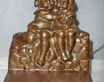 Antique BRONZEART  bronze tone BOOKEND Children sitting on wall - pot metal