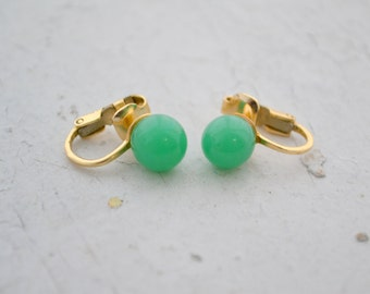 1960s Jade Glass Stud Clip Earrings