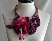SANTA ROSA Plum Purple Mixed Media Textile Statement Necklace