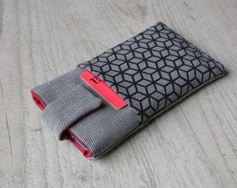 Motorola Moto G5, G5 Plus, Z Force, Moto G4, G4 Plus, G4 Play, Moto X, G, E sleeve case magnetic closure light jeans pocket cube pattern