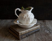 Small Ivory Floral Pitcher and Wash Bowl