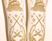 XL Narwhal Tattoo Tights Extra Large Plus Size Gold on Cream Semi Opaque Ivory Sailor Octopus Pirate Lolita Nautical