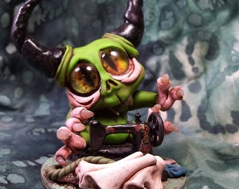 Maniac Manny the Monster Master of Sewing Monster Collectible polymer clay sculpture desk buddy Cute Monster Sewing desk buddy cake topper
