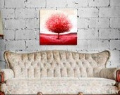 Red tree art, canvas print, Fine art, contemporary painting, modern abstract art, red art, red painting, decorative art
