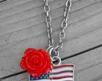 Red White and Blue American Flag Rose Necklace American Flag Jewelry USA Pride Patriotic 4th of July Southern Country Girl Cowgirl Western