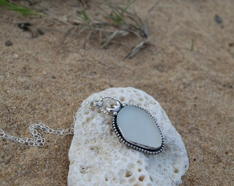 White Sea Glass Necklace | Beach Glass Necklace | Sterling Silver Necklace | Moon Necklace | Mermaid Jewelry