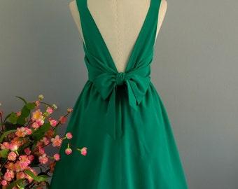Grass green dress green party dress green prom dress green cocktail dress bow back dress green bridesmaid dresses green backless dress