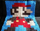 Mario pixel afghan blanket. Ready to ship