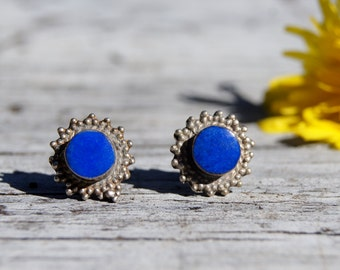Tribal Silver Lapis Lazuli Studs Earrings