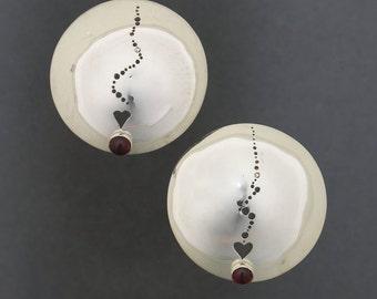 Heart and Garnet earrings