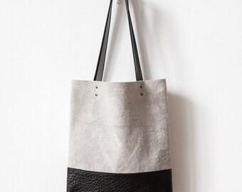 SALE Contrast Grey Suede Leather Tote bag