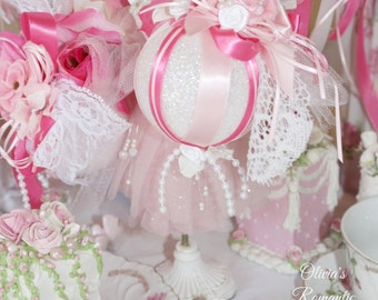 Pink princess victorian rose floral sparkling venetian for Couronne shabby chic