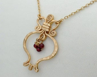 Gold Pomegranate necklace. RIMON-Garnet & 14k gold filled pendat, pomegranate gold necklace, handcrafted judaica jewelry, rimon jewelry