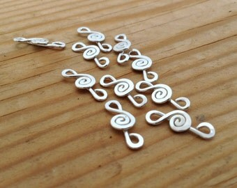 sterling silver findings, treble clef connectors, silver earring components, earring links, silver bracelet parts, jewelry making supplies