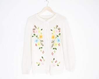 vintage 70s bohemian embroidered sweater