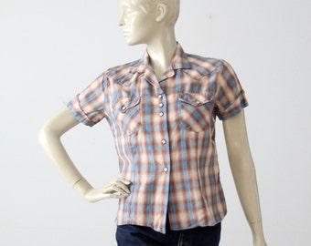 H Bar C women's shirt, 60s western rockabilly blouse