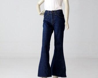 1970s Levis bell bottom jeans 30 x 31, vintage dark wash Levis 684 denim jeans