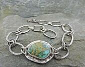 Turquoise and Sterling Link Bracelet, Handmade, Heavy Forged Links, Handmade, Adjustable Bracelet, Size Large Bracelet, Old Stock Turquoise