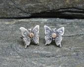 Sweet butterfly studs, stud earrings, Sterling Silver, 18K Rose Gold, Mariposa Posts, Psyche, Feminine,Small Earrings, Made in NH, Ear Posts