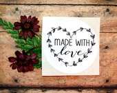 Made With Love Round Stickers, Envelope Seals, Labels, Packaging Label