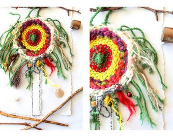 Handwoven  Dream Catcher green orange