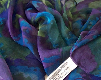 Vintage Silk Scarf Blue Purple Green Floral Elaine Gold Collection Extra Long Scarf 1980s