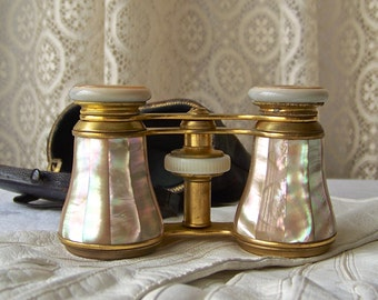 Antique Opera Glasses Mother of Pearl Colmont FT Paris Evening Entertainment Leather Case Turn Of Century ca 1905