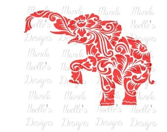 Alabama Floral Elephant Silhouette or SVG Instant Download Cut File