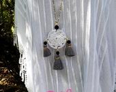 2 DAY SALE! Hippie Chic Crochet Dream Catcher Tassels Grey Long Necklace Jewelry