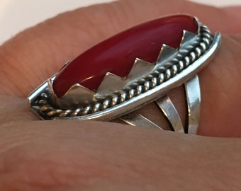 CORAL Native American STERLING Silver Ring 8.6 Grams Size 8