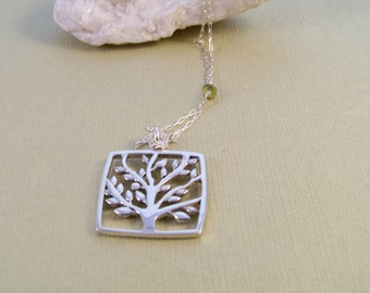 Sterling Silver 'Tree of Life' & Tourmaline Necklace~Nature Inspired~Earth