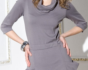 Elegant dress in jersey with big pockets