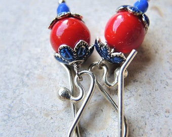 earrings in red and blue