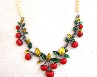 Red Cherry Necklace, Flapper Accessories, Statement, Roaring 20s, Great Gatsby,Woman Jewelry Accessory Bib Downton Abbey Eccentric choker