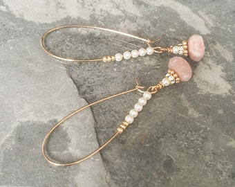 Gold Moonstone and Pearl Hoop Earrings