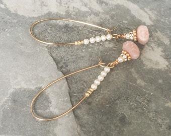 Hoop Earrings, Gold Hoop Earrings, Gold Moonstone and Pearl Hoop Earrings, Moonstone Hoop Earrings, Pearl Hoop Earrings, Hoop Earrings Gold