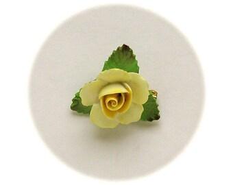 Vintage English YELLOW ROSE DENTON China Brooch Pin