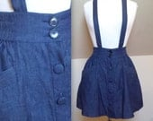 Blue Denim Skirt with Suspenders and Pockets