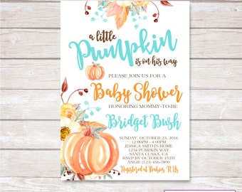 PUMPKIN BABY SHOWER Invitation. Baby Boy. Digital. Printable.