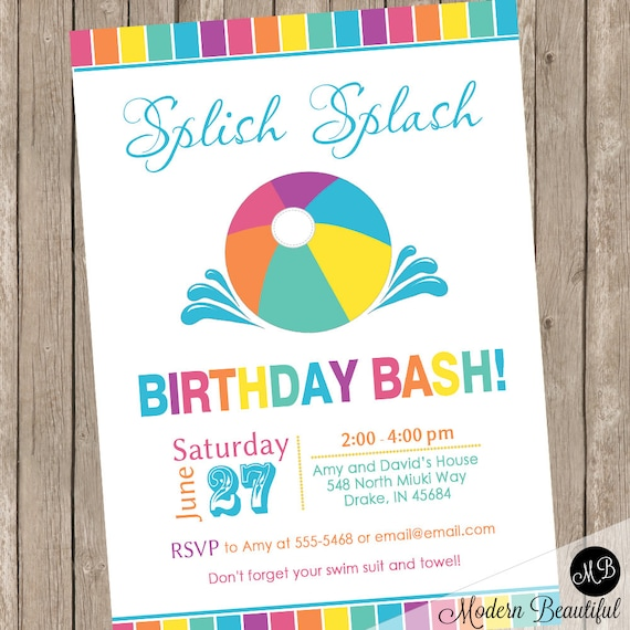 Summer birthday bash invitations pool party invitation beach party il570xn stopboris Image collections