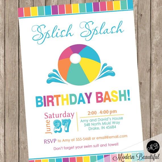 Summer birthday bash invitations pool party invitation beach party il570xn stopboris Choice Image