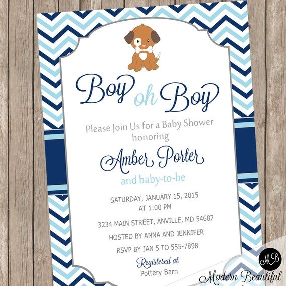 Boy oh boy puppy baby shower invitation light blue and navy il570xn filmwisefo Image collections