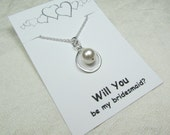 Infinity Pearl Necklace Will You Be My Bridesmaid Gift Bridesmaid Necklace Pearl Infinity Necklace Bridesmaid Jewelry Bridal Wedding Jewelry