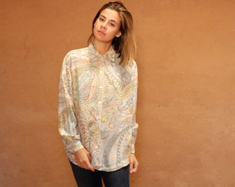 paisley versace style 90s abstract SURF slouchy WILD baroque oversize blouse shirt