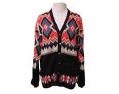Vintage Womens Cardigan Sweater Bright Geometric Print 70s 80s Size Large