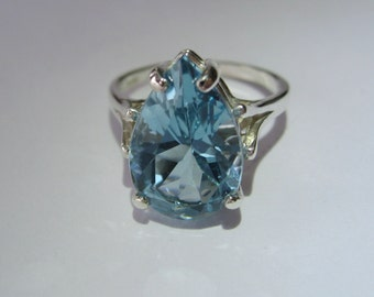 Natural Sky Blue Topaz Pear Shaped In Sterling Silver Ring. 6.85ct. Size 6, 6.75, 8