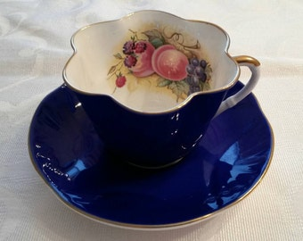 Crown Staffordshire Tea Cup and Saucer; Dainty Style And Fluted; Signed By J.A. Bailey circa 1930's  DR