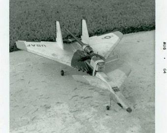 "Vintage Photo ""The Fierce Air Force Fighter Toy"" Hobby Snapshot Antique Photo Black & White Photograph Found Paper Ephemera Vernacular - 58"