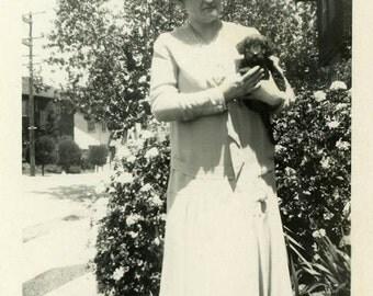 "Vintage Photo ""Cute Little Bundle"" Puppy Dog Animal Snapshot Antique Photo Black & White Photograph Found Paper Ephemera Vernacular - 116"
