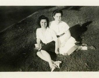 "Vintage Photo ""Friends From Way Back"" Women Girls Snapshot Antique Photo Old Black & White Photograph Found Paper Ephemera Vernacular - 38"